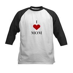 I Love (heart) Mom Kids Baseball Jersey