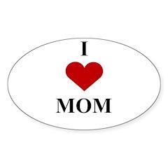 I Love (heart) Mom Oval Decal