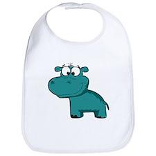 Blue Happy Hippo Bib