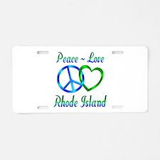 Peace Love Rhode Island Aluminum License Plate