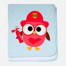 Owl Firefighter baby blanket