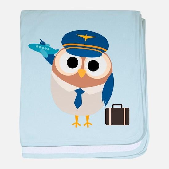 Owl Airplane Pilot baby blanket