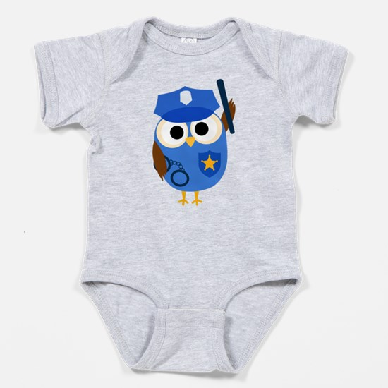 Owl Police Officer Baby Bodysuit
