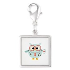 Owl Doctor Silver Square Charm