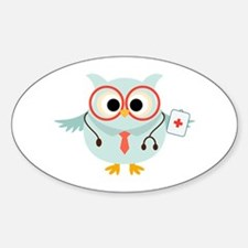 Owl Doctor Sticker (Oval)