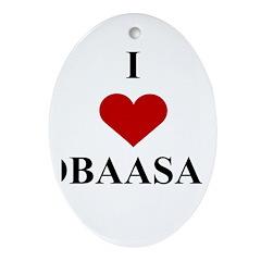 I Love (heart) Obaasan Oval Ornament