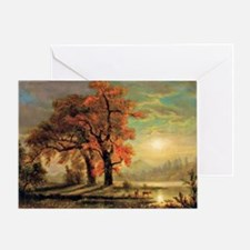 Bierstadt - Sunset Scene with Deer Greeting Card