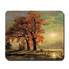 Bierstadt - Sunset Scene with Deer Mousepad