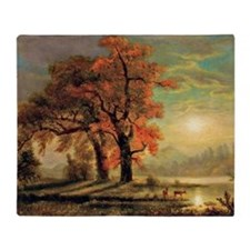Bierstadt - Sunset Scene with Deer Throw Blanket