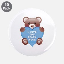 """I Love You Beary Much 3.5"""" Button (10 pack)"""