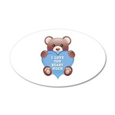 I Love You Beary Much 22x14 Oval Wall Peel