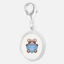 I Love You Beary Much Silver Oval Charm