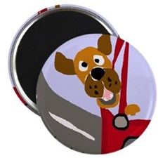 Funny Dog Riding in Car Art Magnet