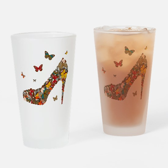 Butterflies and Heels Drinking Glass