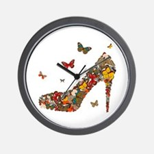Butterflies and Heels Wall Clock