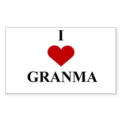 I Love (heart) Granma Rectangle Decal
