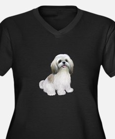 Shih Tzu-(W-Tan)-JTD Women's Plus Size V-Neck Dark