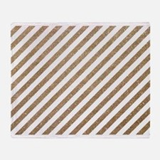 Gold White Diagonal Stripe Glitter Throw Blanket