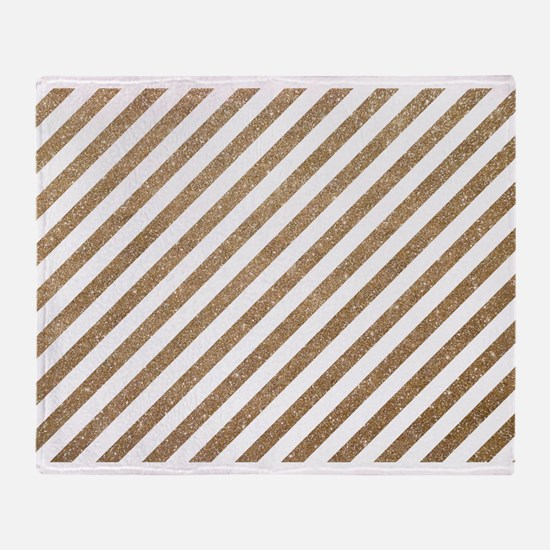 Gold White Diagonal Stripe Glitter Throw Blanket