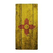 Wooden New Mexico Flag1 Beach Towel