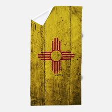 Wooden New Mexico Flag1 Beach Towel