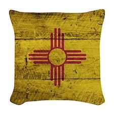 Wooden New Mexico Flag3 Woven Throw Pillow