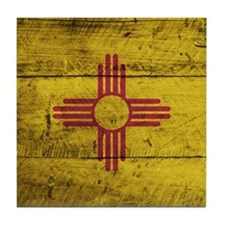 Wooden New Mexico Flag3 Tile Coaster