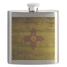 Wooden New Mexico Flag3 Flask