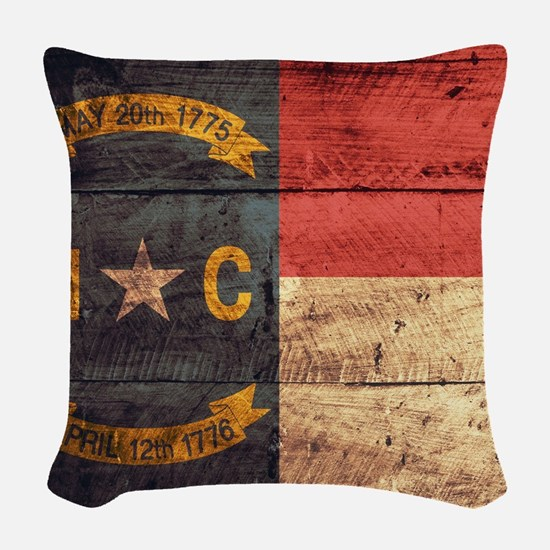 Wooden North Carolina Flag3 Woven Throw Pillow
