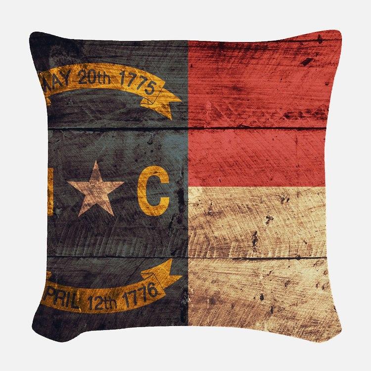 Wooden North Carolina Flag3 Woven Throw Pillow