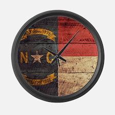 Wooden North Carolina Flag3 Large Wall Clock