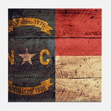 Wooden North Carolina Flag3 Tile Coaster