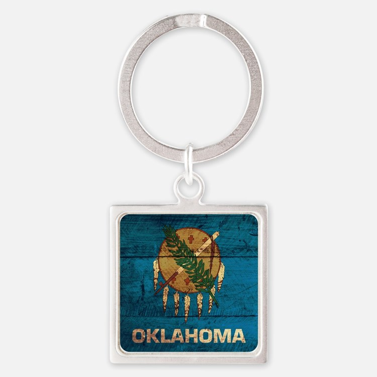 Wooden Oklahoma Flag3 Keychains