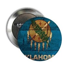 """Wooden Oklahoma Flag3 2.25"""" Button (10 pack)"""