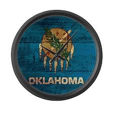 Wooden Oklahoma Flag3 Large Wall Clock