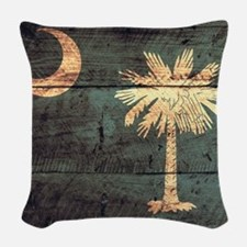 Wooden South Carolina Flag3 Woven Throw Pillow