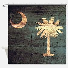 Wooden South Carolina Flag3 Shower Curtain