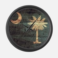 Wooden South Carolina Flag3 Large Wall Clock