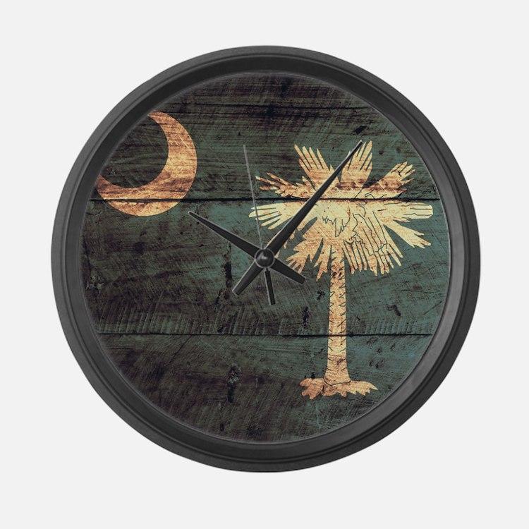 Wooden South Carolina Flag3 Large Wall Clock