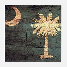 Wooden South Carolina Flag3 Tile Coaster