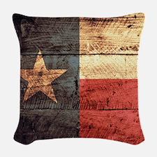 Wooden Texas Flag3 Woven Throw Pillow
