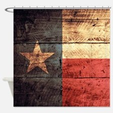 Wooden Texas Flag3 Shower Curtain