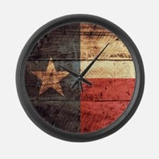 Wooden Texas Flag3 Large Wall Clock