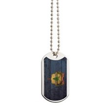 Wooden Vermont Flag1 Dog Tags