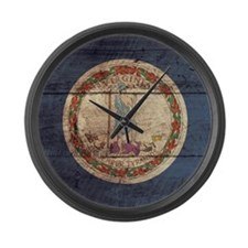 Wooden Virginia Flag3 Large Wall Clock