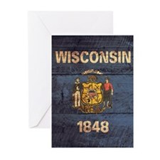 Wooden Wisconsin Flag2 Greeting Cards