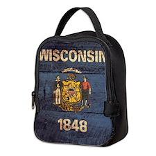 Wooden Wisconsin Flag2 Neoprene Lunch Bag