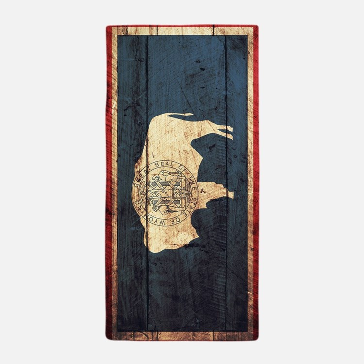 Wooden Wyoming Flag1 Beach Towel