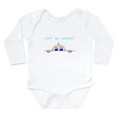 Wat up, peeps? Long Sleeve Infant Bodysuit