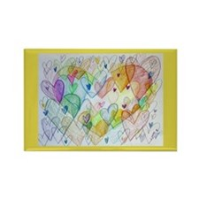 Community Hearts Color Rectangle Magnet (10 pack)